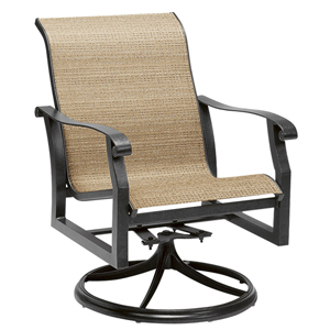 Cortland Sling Putty Swivel Rocker Dining Arm Chair