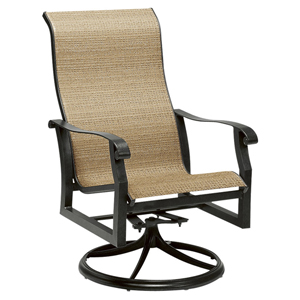 Cortland Sling Curant Sisal High Back Swivel Rocker Dining Arm Chair