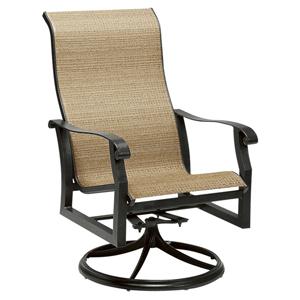 Cortland Sling Black High Back Swivel Rocker Dining Arm Chair