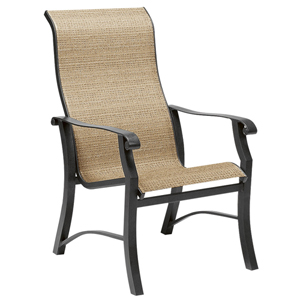Cortland Sling Augustine Gravel High Back Dining Arm Chair