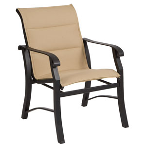 Cortland Padded Sling Augustine Gravel Dining Arm Chair