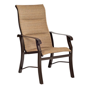 Cortland Padded Sling Augustine Gravel High Back Dining Arm Chair