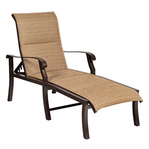 Cortland Padded Sling Raffia Blended Adjustable Chaise Lounge