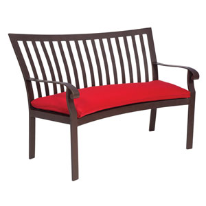 Cortland Cushion Flagship Pecan Crescent Bench with Optional Cushion