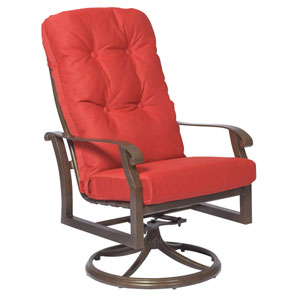 Cortland Cushion Denver Scarlett High Back Swivel Rocker Dining Arm Chair