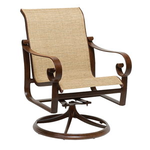 Belden Sling Putty Swivel Rocker Dining Arm Chair