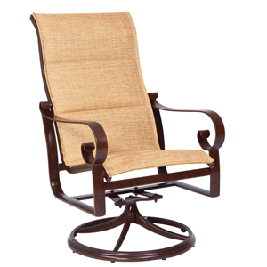 Belden Padded Sling Sisal High Back Swivel Rocker Dining Arm Chair