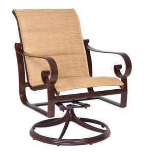Belden Padded Sling Sultan Camel Swivel Rocker Dining Arm Chair