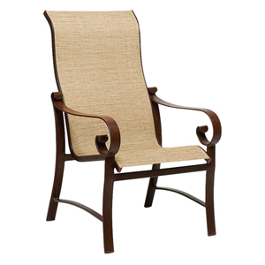 Belden Sling Putty High Back Dining Arm Chair