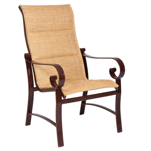 Belden Padded Sling Sultan Camel High Back Dining Arm Chair