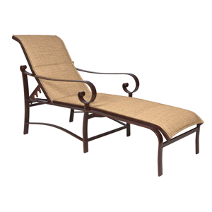 Belden Padded Sling Putty Adjustable Chaise Lounge