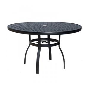 Belden Sling Chestnut Brown 48-Inch Round Umbrella Table with Lattice Pattern Top