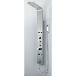 Boann Brushed Nickel Thermostatic Rainfall Shower Panel with Four Adjustable Jets