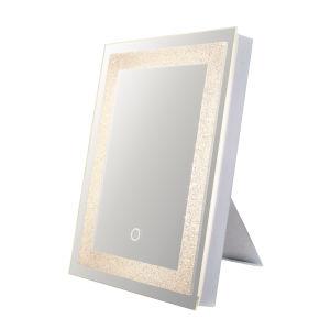 Edison Crystal Rectangular Silver 12-Inch LED Bathroom Mirror