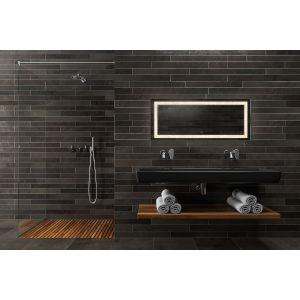 Edison Crystal Rectangular Silver 48-Inch LED Bathroom Mirror