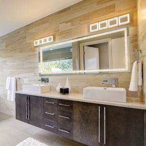 Edison Crystal Rectangular Silver LED Bathroom Mirror
