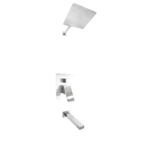 Uno Brushed Nickel Shower Faucet System with Tub Spout
