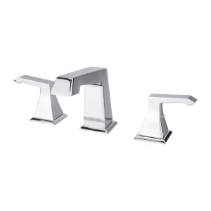 Chrome Five-Inch Double-Handle Three-Hole Widespread Bathroom Faucet