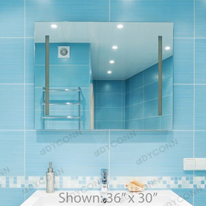 Catella 48x36 Horizontal Wall Mounted Backlit Vanity Bathroom LED Mirror with Touch On/OFF Dimmer and Anti-Fog Function