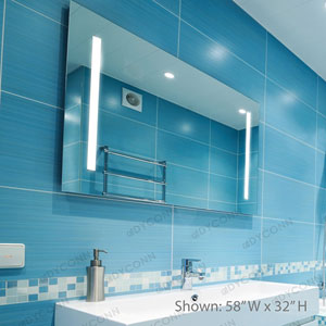 Catella 58x32 Horizontal Wall Mounted Backlit Vanity Bathroom LED Mirror with Touch On/OFF Dimmer and Anti-Fog Function