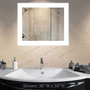 Royal 30x36 Horizontal/Vertical Wall Mounted Backlit Vanity Bathroom LED Mirror with Touch On/OFF Dimmer and Anti-Fog Function
