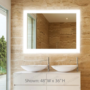 Royal 48x36 Horizontal Wall Mounted Backlit Vanity Bathroom LED Mirror with Touch On/OFF Dimmer and Anti-Fog Function