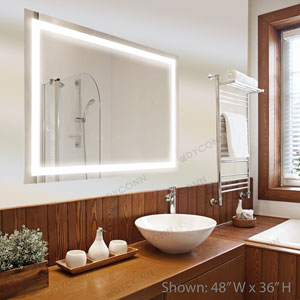 Edison 48x36 Horizontal Wall Mounted Backlit Vanity Bathroom LED Mirror with Touch On/OFF Dimmer and Anti-Fog Function