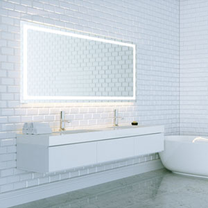 Swan 60x35 Horizontal Wall Mounted Backlit Vanity Bathroom LED Mirror with Touch On/OFF Dimmer and Anti-Fog Function