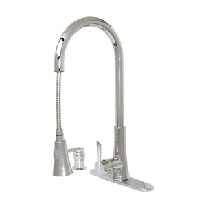 Celtic Polished Brushed Nickel Low Lead 18-Inch Modern Kitchen Single Hole Pull-Out Faucet with Soap Dispenser