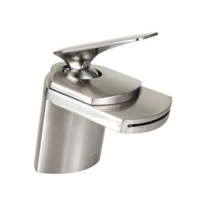Marble Brushed Nickel Low Lead 4.5-Inch Waterfall Bathroom Sink Faucet