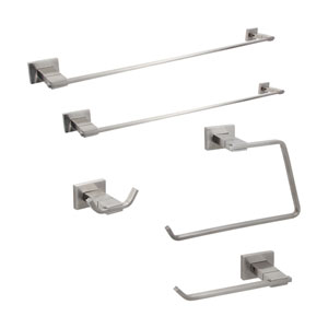 Modern Solid Stainless Steel Bathroom Accessories, Set of 5