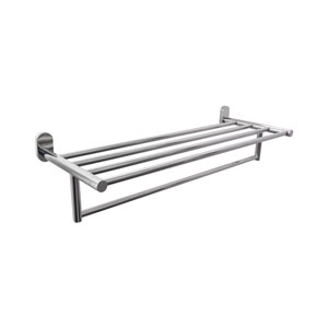 Polished Chrome 22-Inch Towel Rack with Towel Bar