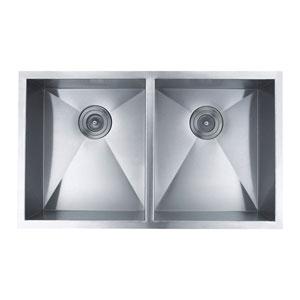 Hand Made Stainless Steel Zero Radius 50/50 Double Bowl Undermount Kitchen Sink