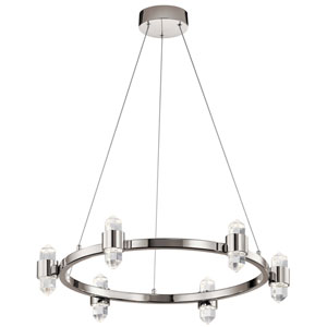 Arabella Polished Nickel Six-Light LED Chandelier with Crystal