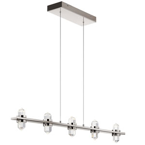 Arabella Polished Nickel Five-Light LED Pendant with Crystal