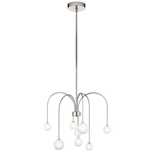 Rain Polished Nickel Eight-Light LED Chandelier