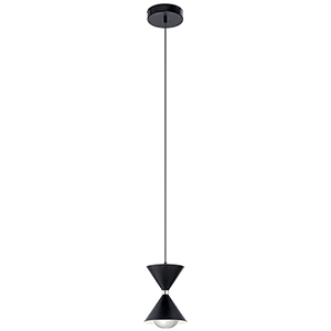 Kordan Matte Black and Gloss White LED Mini Pendant