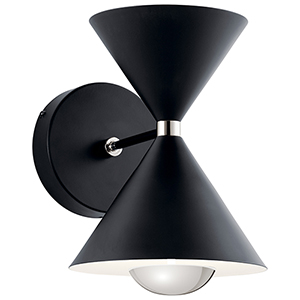 Kordan Matte Black and Gloss White LED Wall Sconce