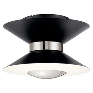 Kordan Matte Black and Gloss White LED Flushmount