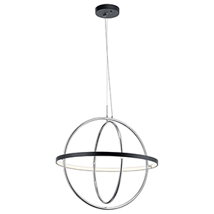 Arvo Matte Black and Chrome LED Chandelier