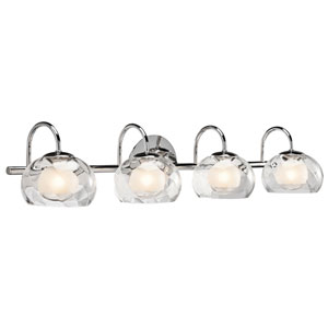 Niu Chrome Four-Light Bath Vanity Fixture