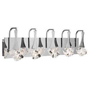 Rockne Chrome Five-Light Bath Vanity Fixture