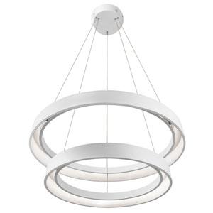 Fornello Sand Textured White Two-Light LED Round Pendant