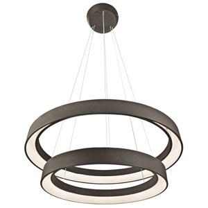 Fornello Sand Textured Black Two-Light LED Round Pendant