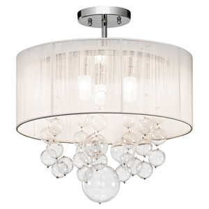 Imbuia Chrome Three-Light Semi-Flush Mount