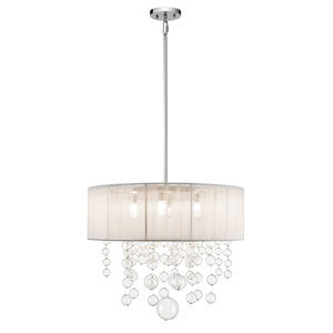 Imbuia Chrome Five-Light Cluster Pendant