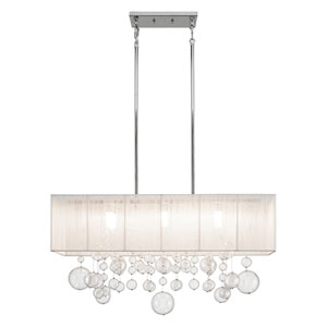 Imbuia Chrome Six-Light Chandelier Rectangular Pendant
