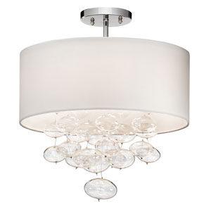 Piatt Chrome Three-Light Semi-Flush Mount