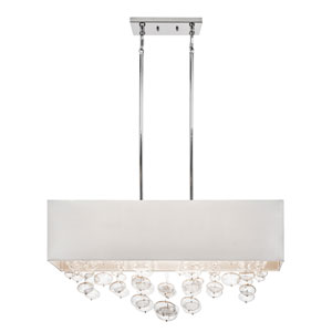 Piatt Chrome Six-Light Chandelier Rectangular Pendant