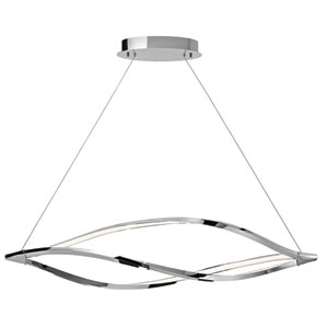 Meridian Chrome One-Light LED Linear Chandelier